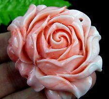 HAND CARVED Salmon Pink Coral Carved Rose Pendent