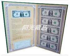 USA UNCUT 5x ONE DOLLAR US$1 banknote with hard folder (UNC), B