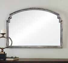 "LARGE STATELY 42"" AGED SILVER LEAF WALL MIRROR VINTAGE OR CONTEMPORARY"