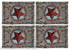 "PLACEMATS - ""WESTERN STAR"" TAPESTRY PLACEMATS - BLUE - SET/4 - RANCH PLACE MATS"