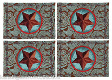 """PLACEMATS - """"WESTERN STAR"""" TAPESTRY PLACEMATS - BLUE - SET/4 - RANCH PLACE MATS"""