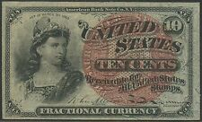 Fr1259 10¢ 4Th Issue Fractional Large Red Seal; Violet Silk Fibers Unc Br9537