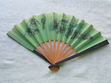 "Vintage Folding Fan 7 1/4"" Long x12"" Wide Woman & Child Flowers F-29"