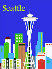 Seattle Washington Space Needle Skyline United StatesTrvel Advertisement Poster