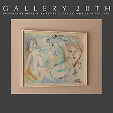 AMAZING! ORIG. MID CENTURY MODERN ABSTRACT PAINTING! Art Vtg Beckmann Horse Nude