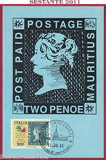 ITALIA MAXIMUM MAXI CARD 578 MAURITIUS MONDIALE FILATELIA '85 1985 TORINO C349