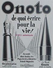 PUBLICITE ONOTO PORTE PLUME LA POINTE SAFETY ECRIRE A VIE DE 1929 FRENCH AD PUB
