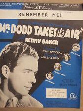 FICHE chanson se souvenir de moi? Kenny Baker 1937 M. Dodd prend l'air