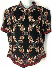 Papell Boutique Evening L 100% Silk Short Sleeves Embroidery Beads Lined