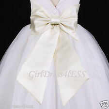 Wedding Flower Girl Dress Sash Bow Waistband Belt S M L 6M 12M 18M 2 4 6 8 10 12