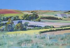 """PETE DAVIES ORIGINAL """"A Walk on the West Sussex Downs"""" COUNTRY LIFE OIL PAINTING"""