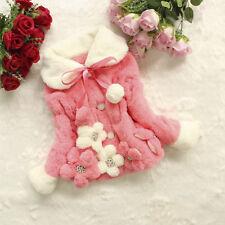 Kids Girl Faux Fur Fleece Jacket Winter Warm Floral Coat Snowsuit Casual Outwear
