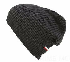 NEW MONCLER GAMME BLEU LUXURY GRAY KNIT WOOL LOGO BEANIE HAT ONE SIZE UNISEX