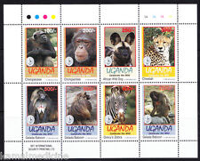 Uganda 1994 MNH SS, Wild Animals, Chimpanzee, Baboon, Cheetah, Dog, Zebr -  Da34