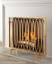 Geometric Modern Oval Loops Fireplace Fire Screen Flat Panel Antique Gold 40""