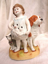 """LAST CHANCE...Nice Antique German/French Porcelain Girl w Dog, Cat, Kittens -10"""""""