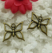 free ship 80 pieces bronze plated butterfly charms 19x17mm #2032