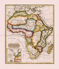 Mappa ANTICA Lucas 1814 generale ATLAS AFRICA GRANDI REPLICA poster stampa pam0991