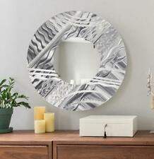 Large Round Silver Modern Metal Wall Mirror Accent Art Home Decor by Jon Allen