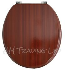 Mahogany Wooden Traditional Toilet seat Chrome Hinge Fittings Bathroom WC Loo