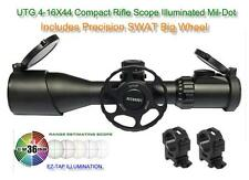 UTG 4-16X44 30mm Compact Scope AO 36-Color Mil-dot Rings w-SWAT Big Wheel