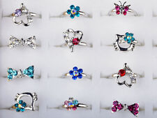 Wholesale 20Pcs Mixed Silver Plated kid Cocktail Party CZ Crystal Rings Jewelry