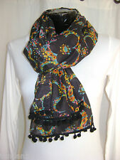 """NEW"" TRANSAT BOUTIQUE CHECHE ECHARPE FOULARD ""BLA BLA"" POMPONS NOIR COLORE"