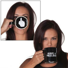 New Cups Creative Middle Finger Ceramic Coffee Mug Cup Novelty Funny Gift Black