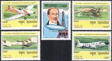 Cambogia 1993 Santos-Dumont/Aviazione/piani/Aeromobile/Palloncini/trasporto 5v b8021