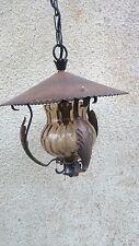 LAMPE SCHMIEDEEISEN KUPFER GLAS THEKENLAMPE WIRTSHAUS GASTSTÄTTE LANDHAUS KNEIPE