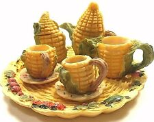 Tea Set Mini Resin 15 Piece Miniature Corn Husks Art Mark Original