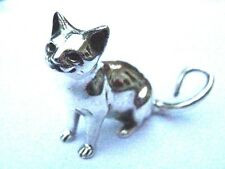 Quality Sterling Silver Miniature Sitting Cat Figure Statue Heavy 16g 3cm gift