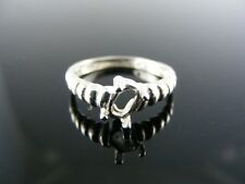 646 RING SETTING STERLING SILVER, SIZE 4, 6X4 MM OVAL FACETED STONE