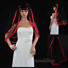 2T Gothic Elbow Lenght Black Tulle Wedding Bridal Veil With Comb Red Satin Edge