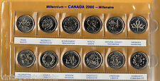 12 Coin Set of Millennium 2000 Commemorative 25-Cent Quarter Coins Canada #2