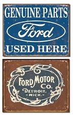 2 Ford Tin Signs antique motor co vintage genuine parts metal posters 1422+1707