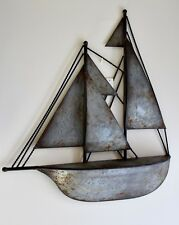 Large 3D Silver Old Effect Vintage Style Nautical Boat Ship Metal Wall ART DECO