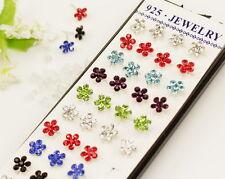 +++++ Wholesale 40pcs  Silver Crystal Stud flower Earrings Y-39