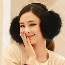 Fashion Women's Faux Fur Winter Ear Warmer Earmuffs Ear Muffs Earlap Solid Black