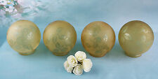 4x ART DECO Chandelier Glass GLOBES Signed DEVEAU amber yellow coloured muller