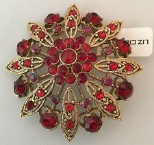 Liz Claiborne Large round flower shaped gold tone brooch Glass faceted red stone