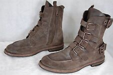 DOLCE & GABBANA  MEN BUCKLED RUGGED LEATHER RIDING BIKER COMBAT BOOTS UK 8 US 9