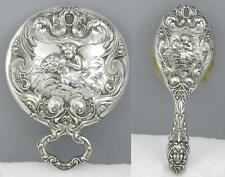 2pc Set Art Nouveau UNGER Bros LOVES DREAM Sterling Silver MIRROR HAIR BRUSH
