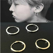 Silver Girl Boy Plated Small 1.2mm Endless Hoop Ear Stud Earrings Round Jewelry