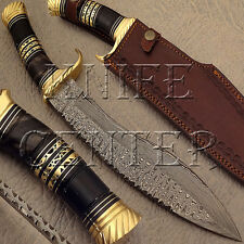 BEAUTIFUL CUSTOM MADE DAMASCUS STEEL HUNTING KNIFE | KUKRI BOWIE KNIFE | HORN