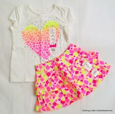Girls Summer Outfit Sz 2T Top Skort Scooter Heart Sparkle Pink Yellow White NWT
