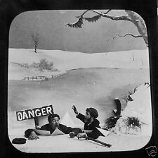 Glass Magic lantern slide SKEERS SKATING EXCURSION NO.10 C1890 VICTORIAN TALE