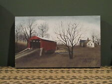 """**Primitive Country Rustic Canvas Print - Billy Jacobs-""""Red Bridge""""!!**"""