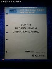 Sony Operation Manual DVP F11 DVD Mechanism CD/DVD Player (#6187)