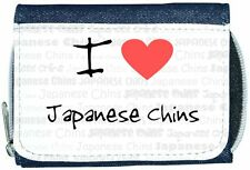 I Love Heart Japanese Chins Denim Wallet